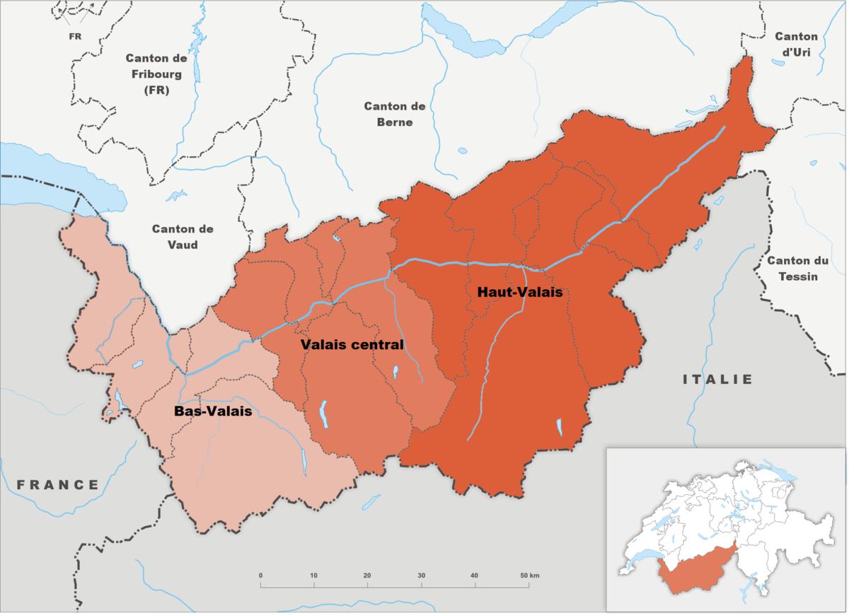 Les trois régions du Valais: Bas-Valais, Valais central et Haut-Valais.