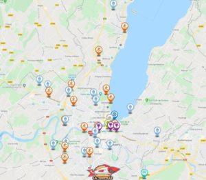 page interactive des activités dans le canton de Genève