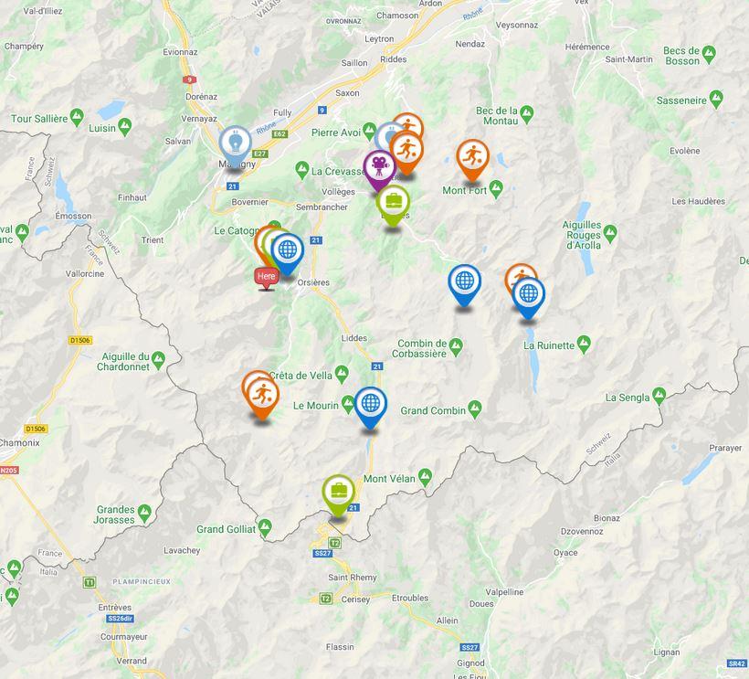 Voir la carte interactive des activités dans la région d'Entremont.