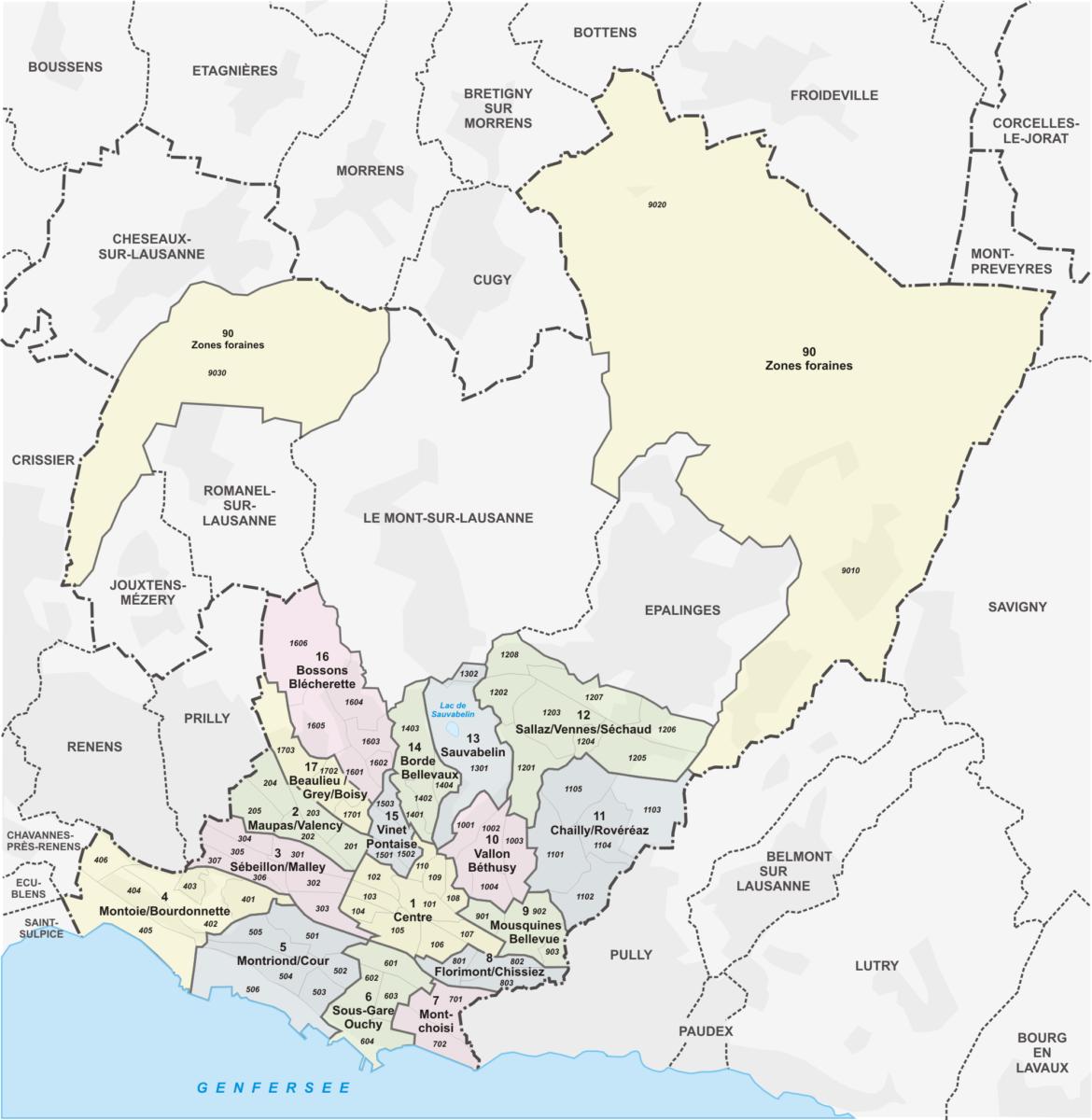 La carte de la Ville de Lausanne avec les quartiers