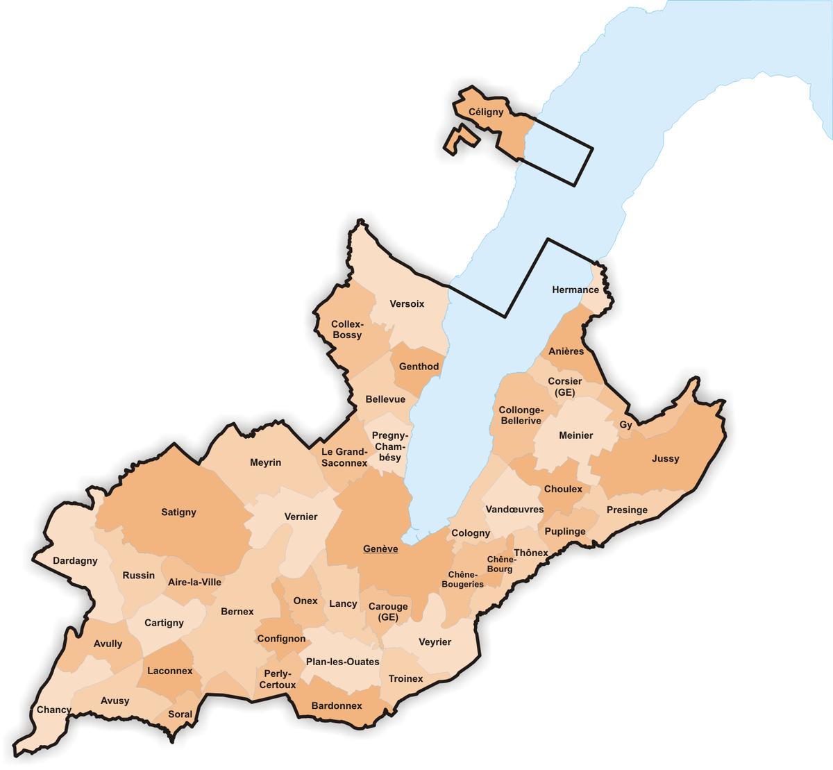 Les communes du canton de Genève