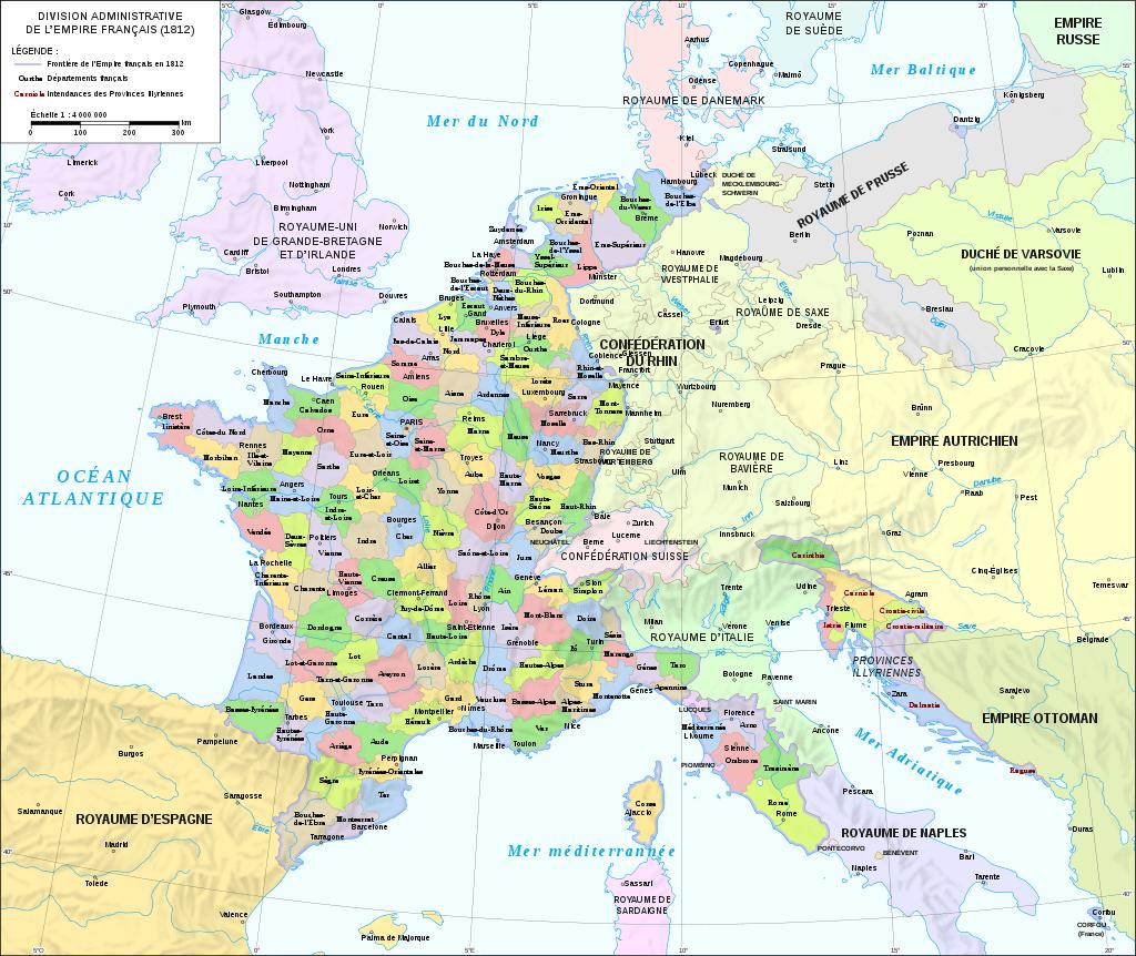 Une très interessante carte de la France napléonienne en 1812. En plus de Genève, le Valais est également annéxé pour former le département du Simplon. Des villes comme Barcelone, Rome ou Hambourg font partie de l'Empire.