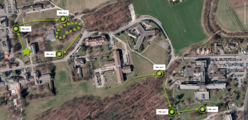 Le parcours du disc golf de Chêne-Bourg.