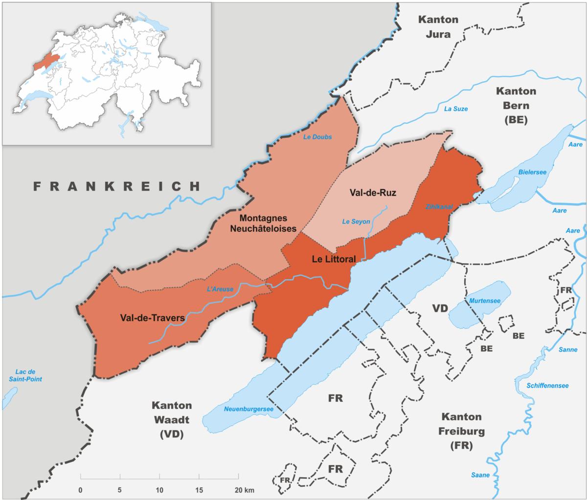 Les districts du canton de Neuchâtel.