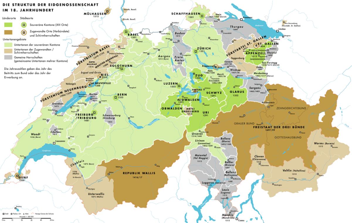 La République de Genève au 18e siècle en comparaison avec la Suisse. Source: wikimedia Commons.