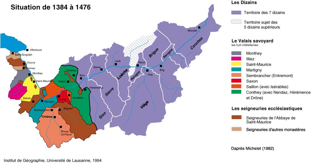 """La situation avant les guerre de Bourgogne. le Valais est diviés en """"dizains"""" et le Savoie en """"châtellenies""""."""