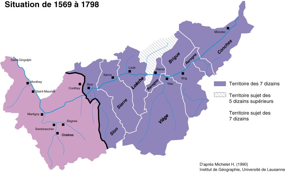 Les Sept-Dizains ont pris le contrôle du Bas-Valais.