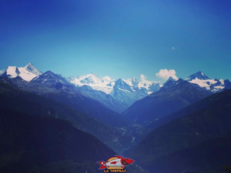 bisse du Tsittoret. Les principaux sommet visibles sont de gauche à droite: Bishorn - Weisshorn - Zinalrothorn - Cervin (Matterhorn) - Dent Blanche. Le Grand Combin se trouve plus à droite.