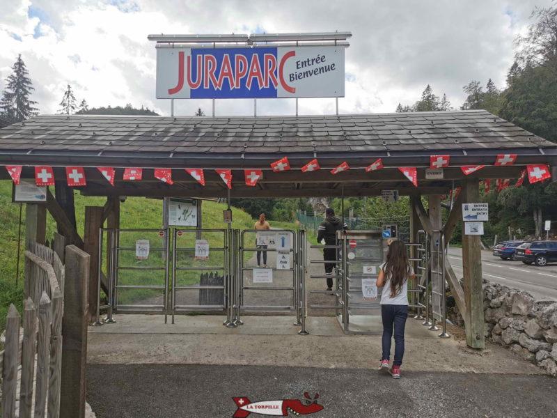 Le tourniquet d'entrée à Juraparc.
