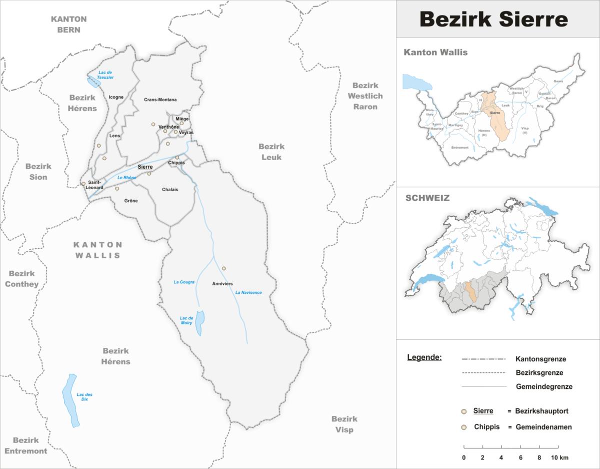 La carte du district de Sierre dans le Valais central.