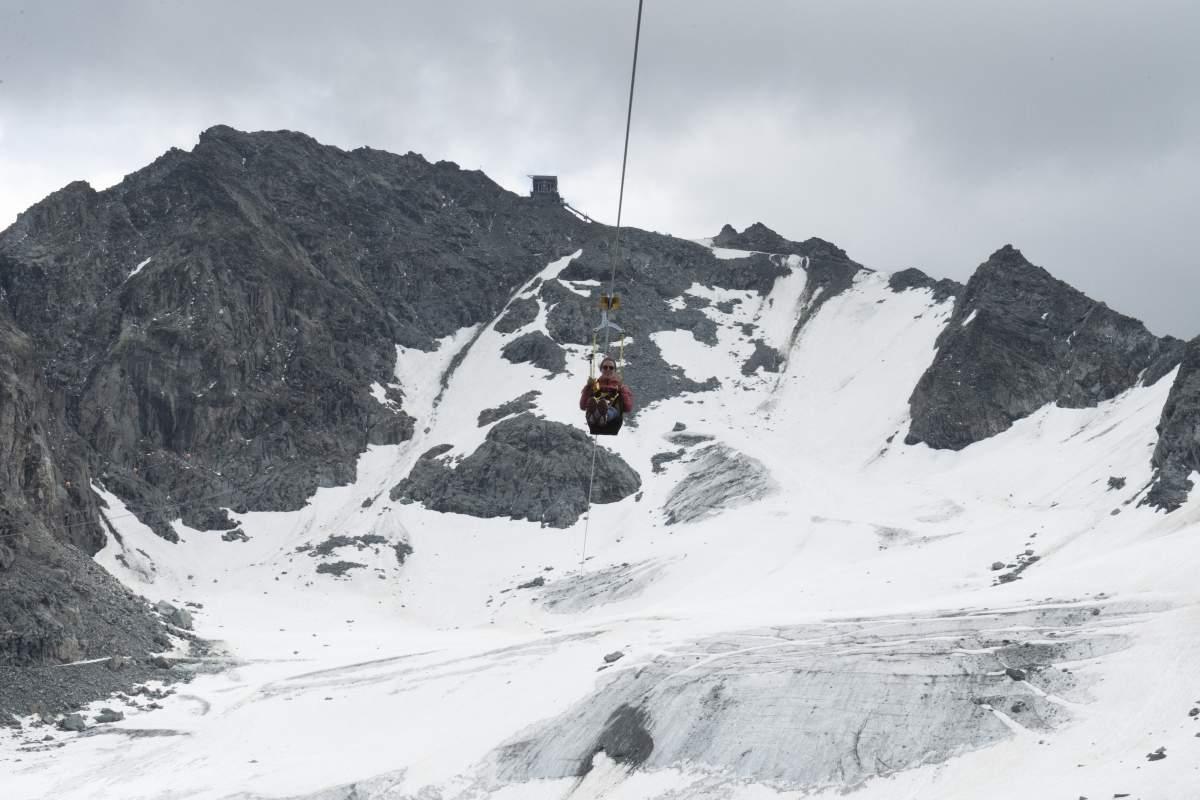 Le survol du glacier de Tortin