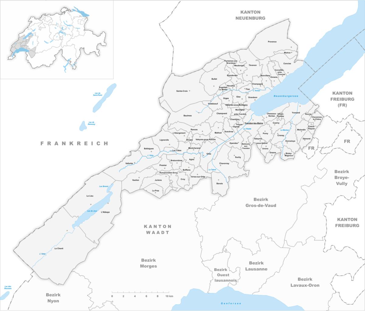 La carte du district du Jura Nord-vaudois