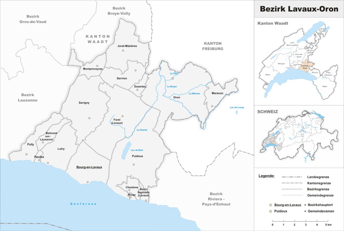 La carte du district de Lavaux-Oron.