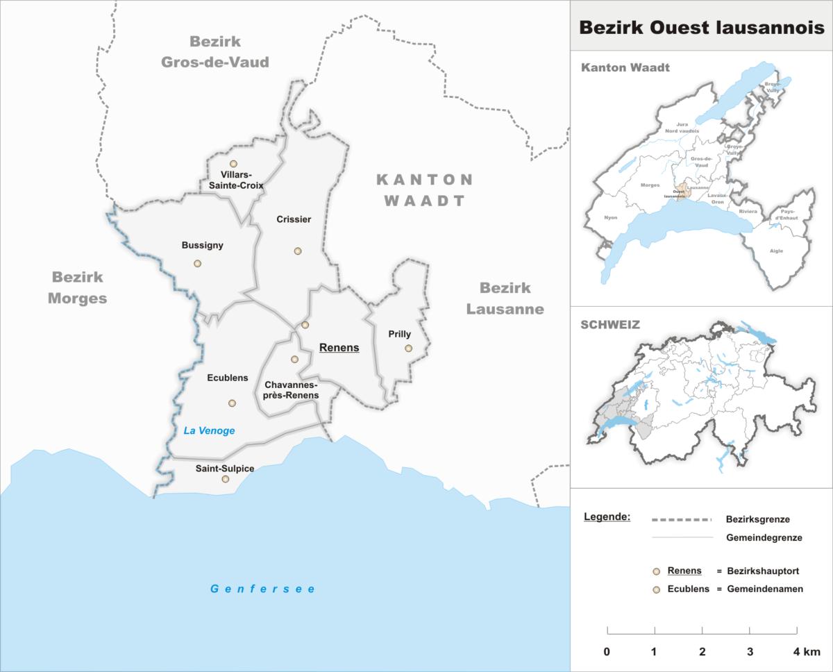 La carte du district de l'Ouest lausannois