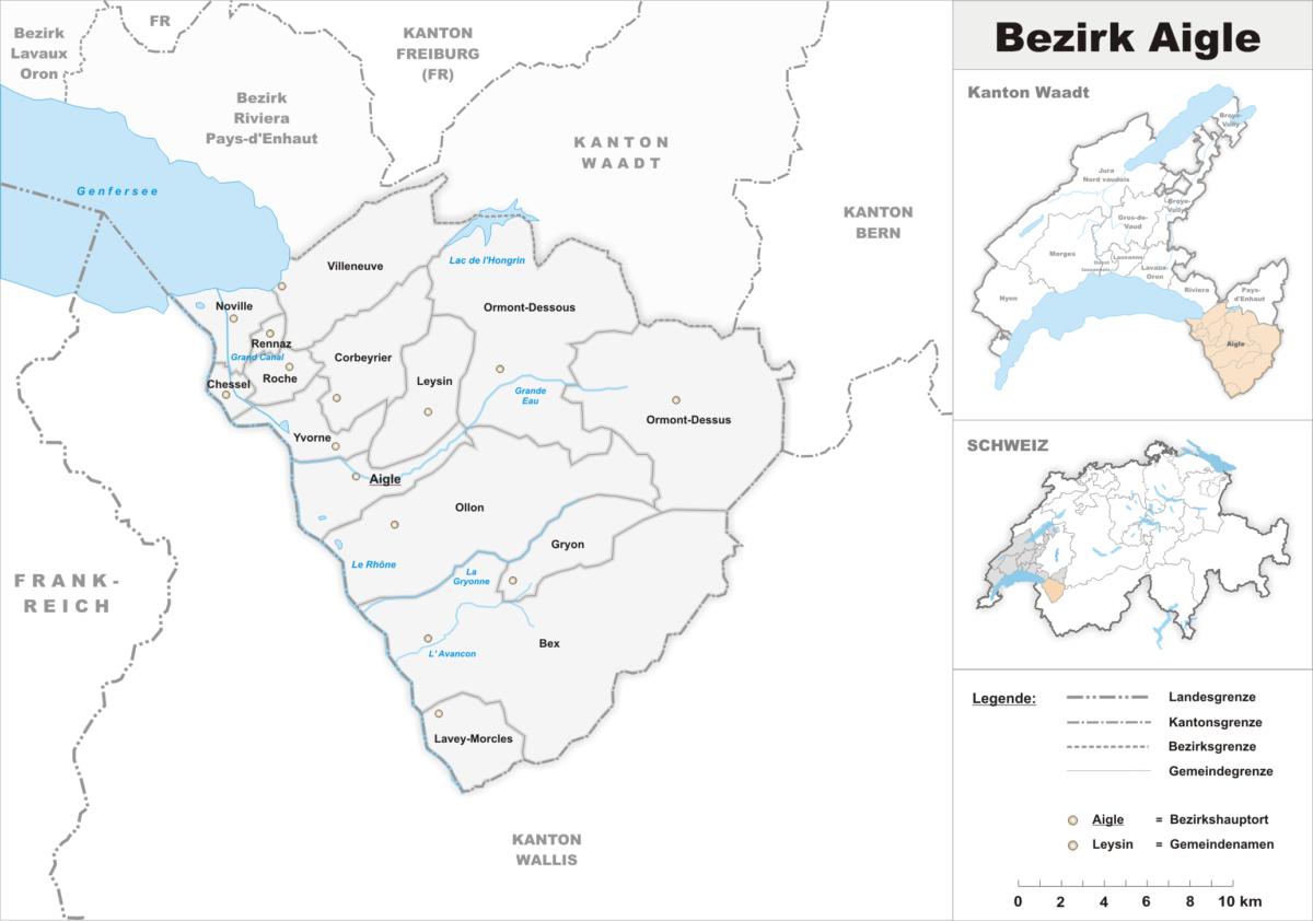 La carte du district d'Aigle dans le Chablais vaudois.