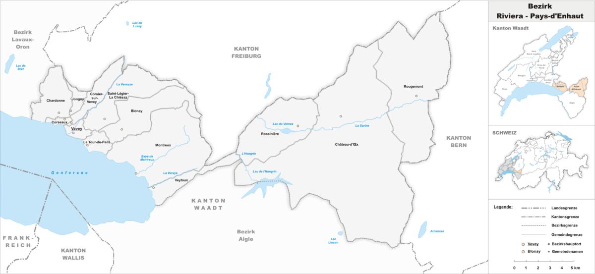 La carte du district de la Riviera-Pays-d'Enhaut dans le canton de Vaud.