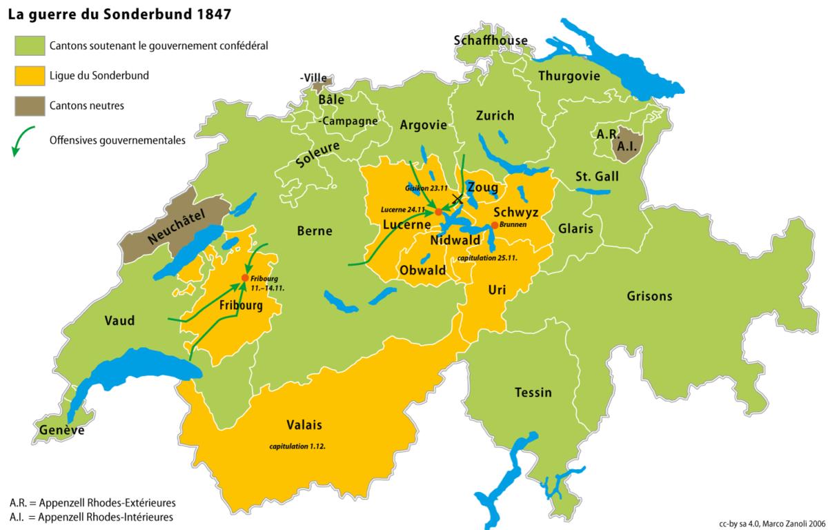 Une carte indiquant les belligérants de la guerre du Sonderbund.