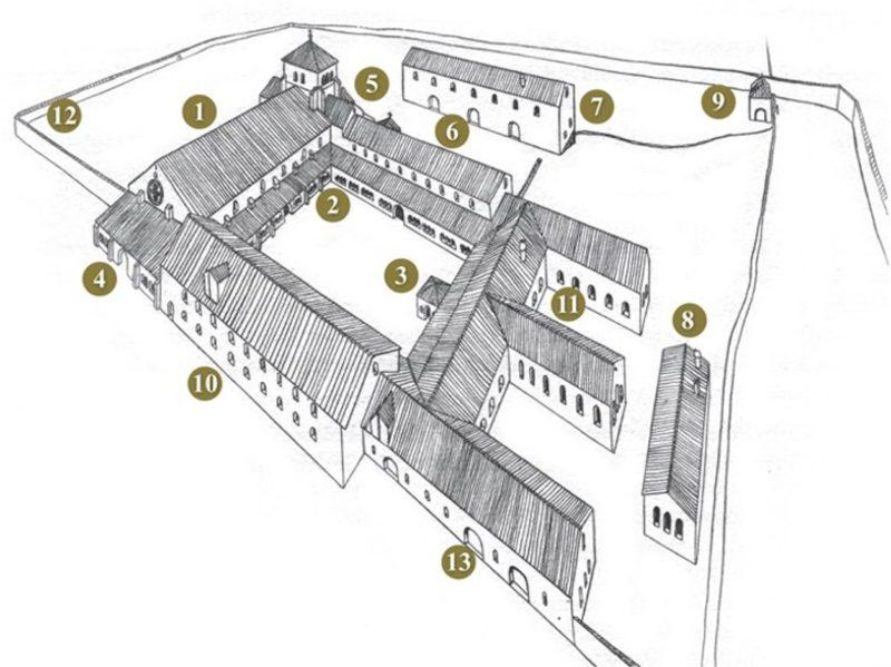 La structure de l'abbaye telle qu'elle existant avec l'arrivée des bernois. L'église est un des seuls édifices à avoir subsisté