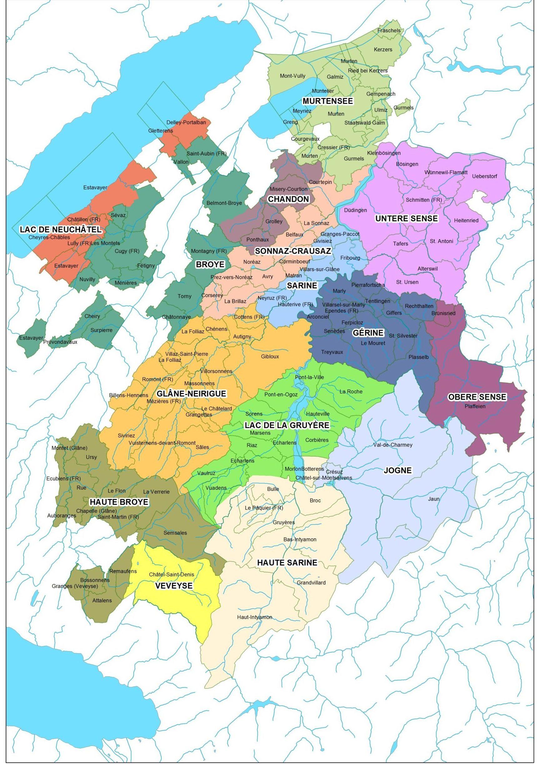 Une très belle carte des bassins versants du canton de Fribourg.
