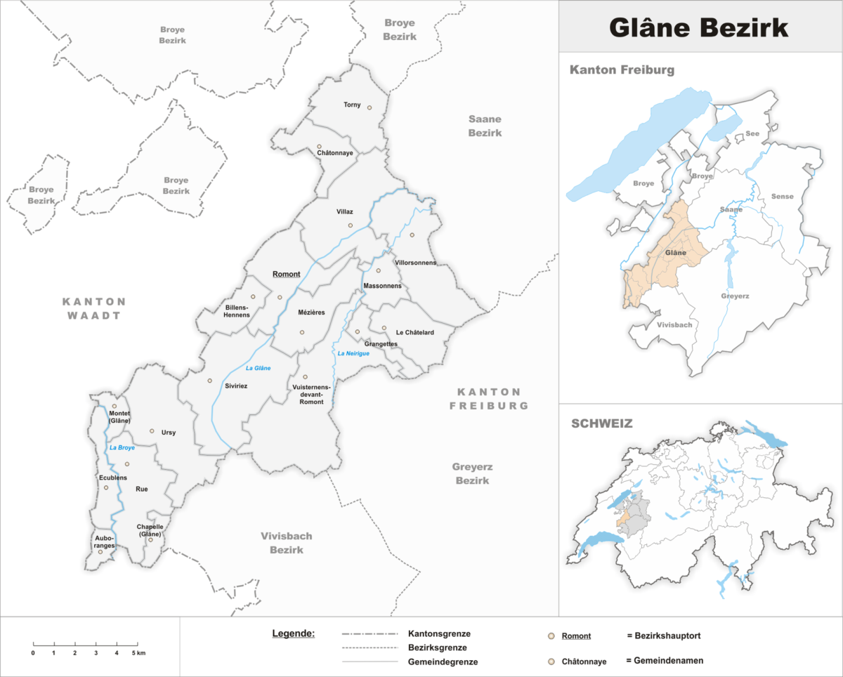 La carte du district de la Glâne.