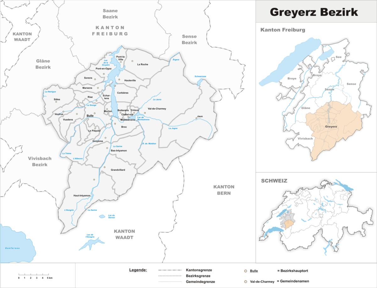 La carte du district de la Gruyère