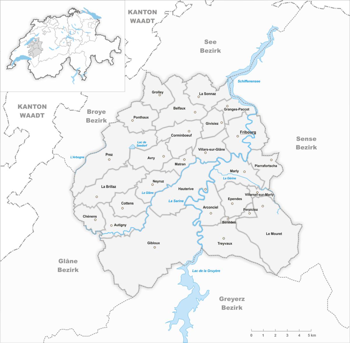 La carte du district de la Sarine.