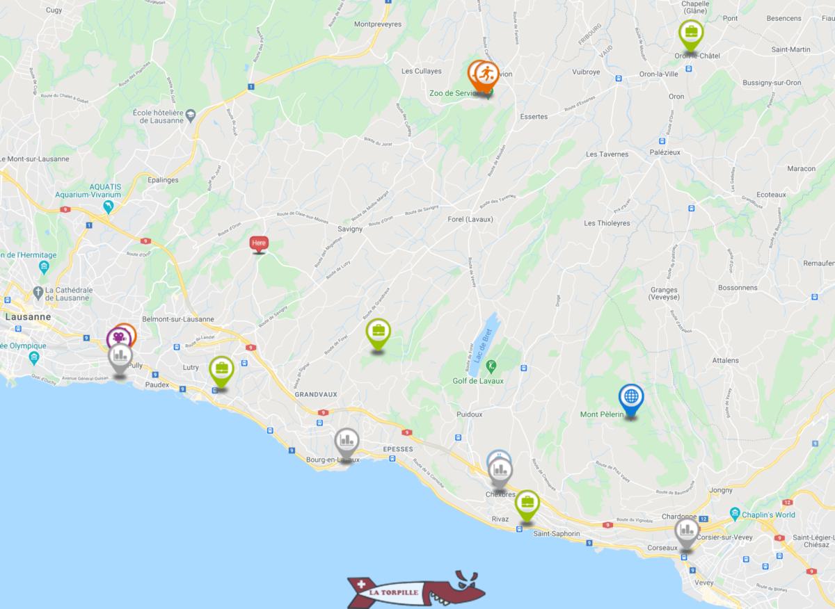Carte interactive des activités dans la region du Lavaux-Oron