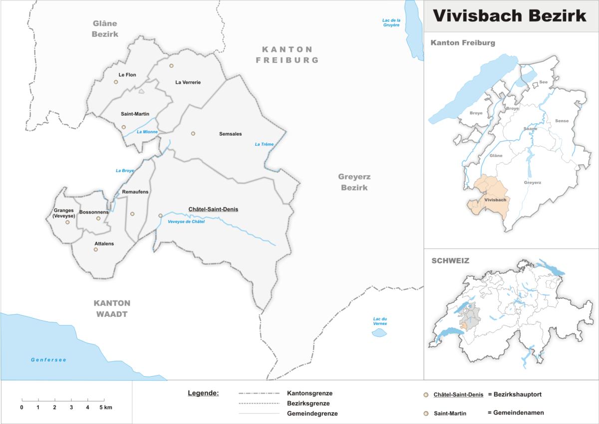La carte du district de la Veveyse