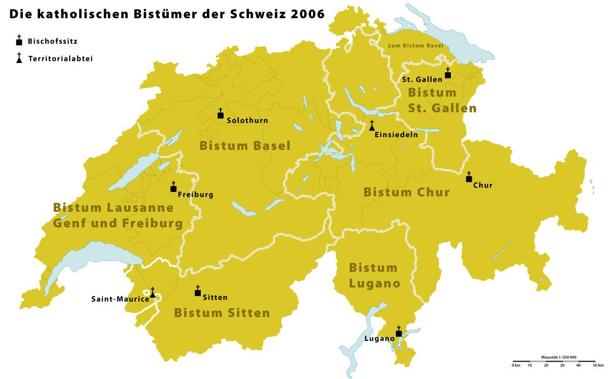 Les diocèses catholiques en Suisse.