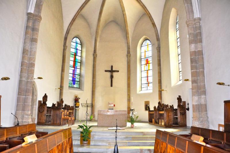 L'intérieur de l'église du couvent de Géronde.