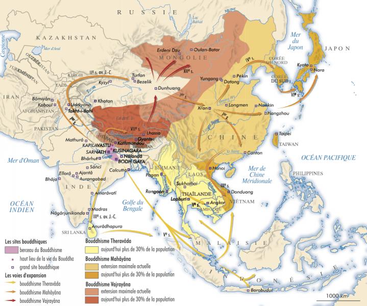 Propagation et répartition du Bouddhisme en Asie