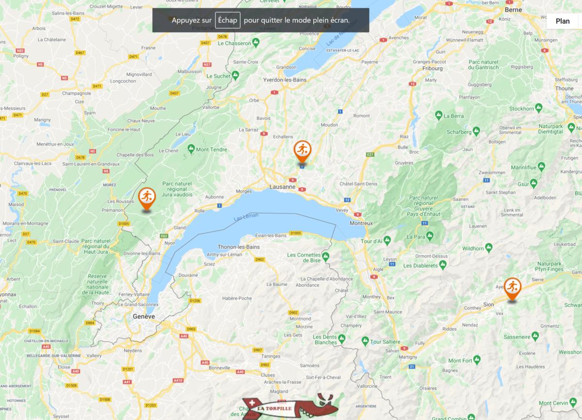 Voir la géolocalisation des foot golf de Suisse romande.
