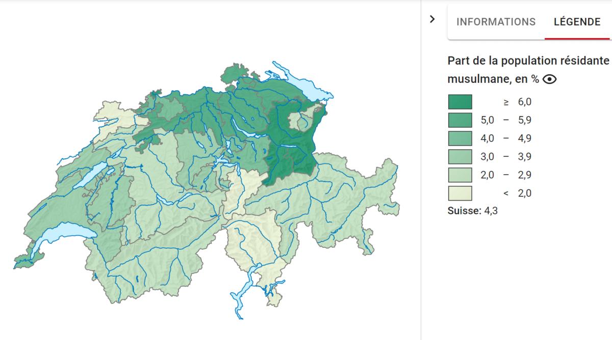 Proportions de musulmans dans la population par canton suisse. Source: Office Fédérale de la Statistique.