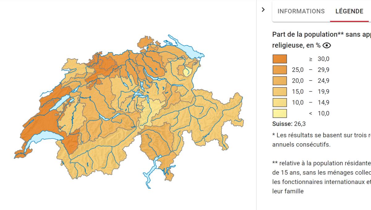 Proportions de personnes sans religion dans la population par canton suisse. Source: Office Fédérale de la Statistique.