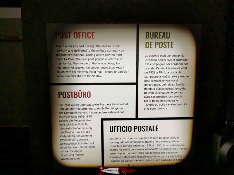 Un panneau explicatif d'une pièce du fort de chillon