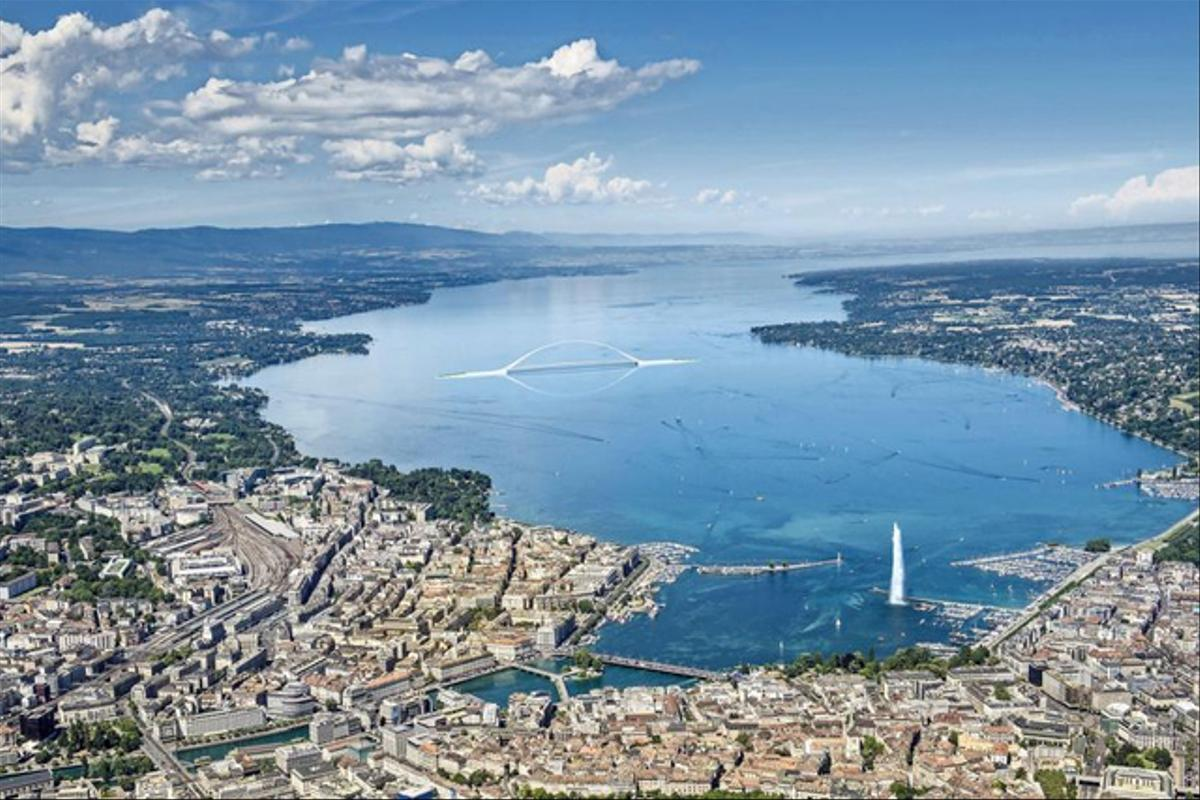 Vue sur le lac Léman. La ville de Genève se trouve au premier plan avec notamment le fameux Jet d'eau.