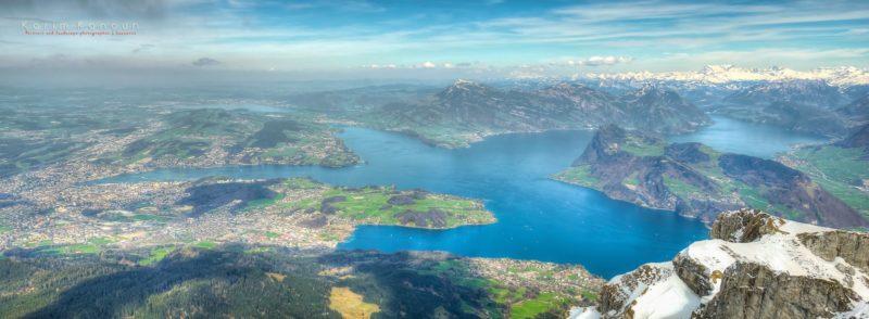 Le magnifique lac des Quatre Cantons depuis le Mont Pilate.