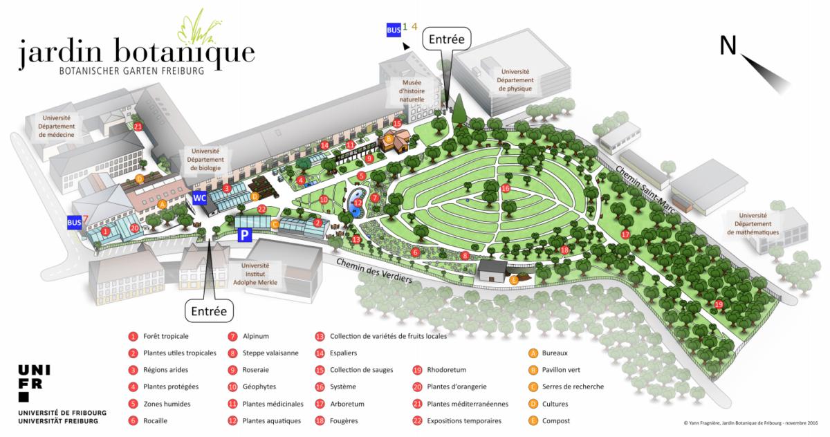 carte Jardin botanique de l'Université de Fribourg