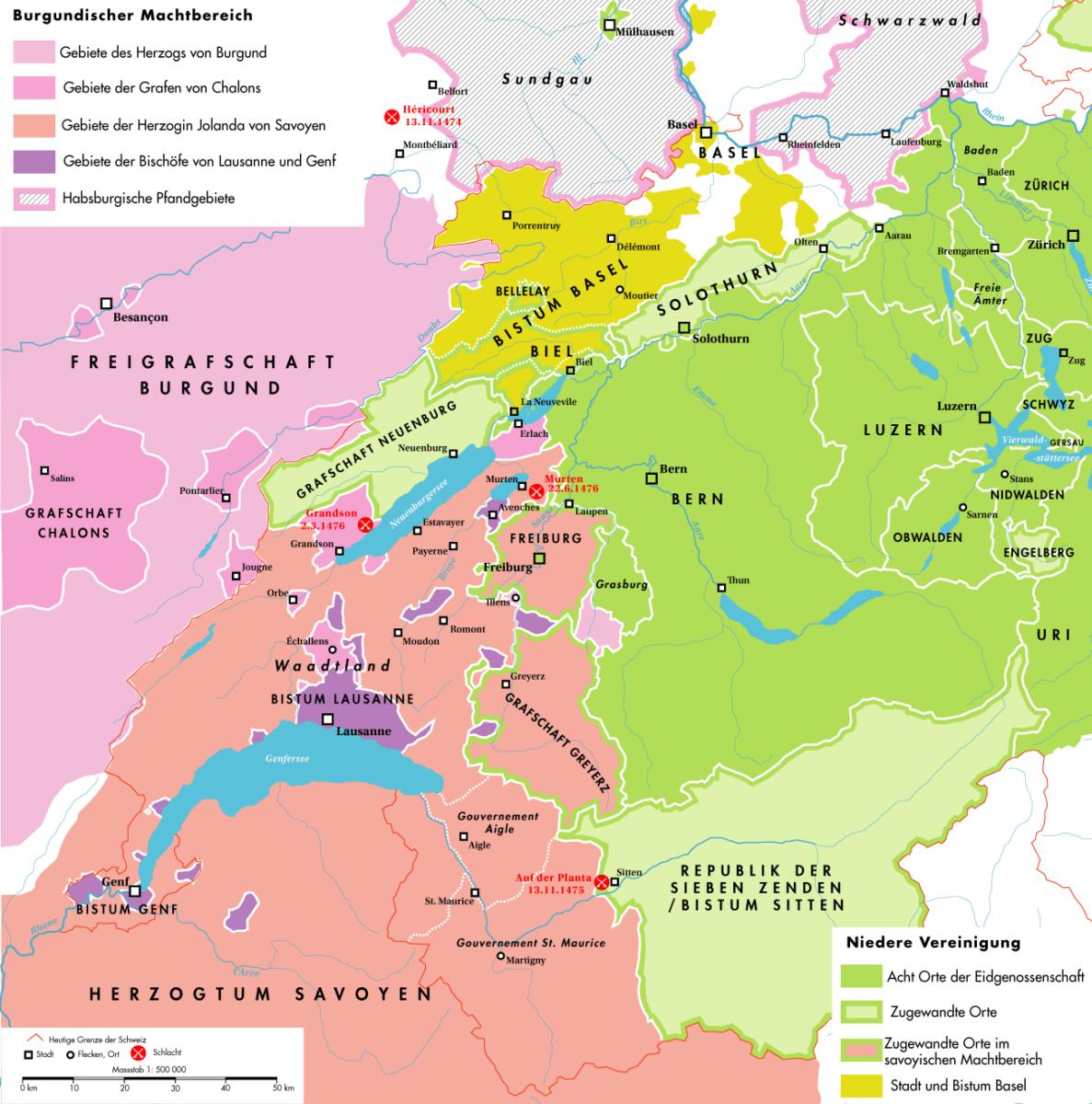 Le canton de Vaud au 15e siècle avant les guerre de Bourgogne.