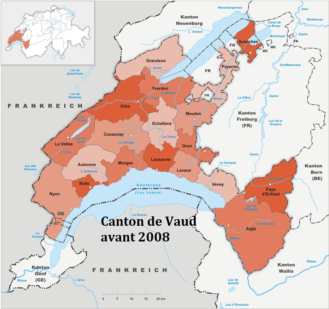 Les district du canton de Vaud de 1803 à 2007. En 2008 le nombre de district est réduit (voir carte en haut de page)
