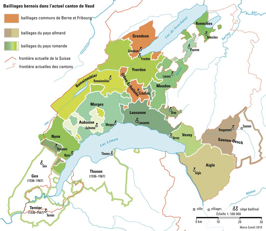 En 1536, le canton de Vaud a presque complètement son territoire actuel à quelques exceptions près