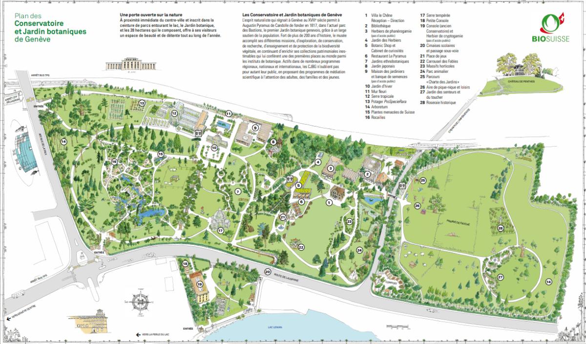 Le plan du jardin botanique de Genève.