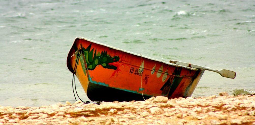 Une barque munie de rames