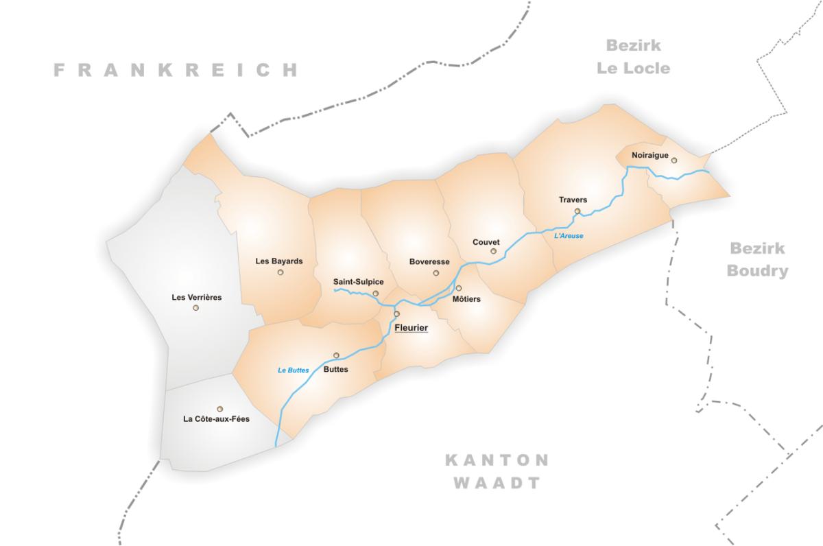 Les localités en orange qui ont fusionnées en 2009 pour former la commune de Val-de-Travers.